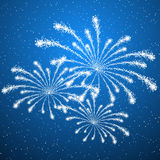 Fireworks on blue background. Shiny fireworks on blue background Stock Photo