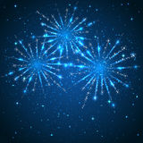 Fireworks on blue background. Blue starry background with shiny fireworks, illustration Stock Photography