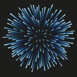 Fireworks blue on a black background. Blue fireworks on a black background. Celebration, show, boom, isolated objects, vector illustration Stock Photo