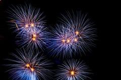 Fireworks. Blue fireworks on night sky Royalty Free Stock Photos