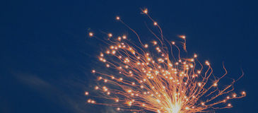 Fireworks with blue sky-banner Royalty Free Stock Image