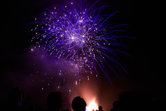 Fireworks. Blue star fireworks in Stirling, Scotland lit up the sky on bonfire night 2015 Royalty Free Stock Images