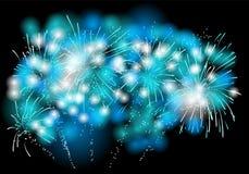 Fireworks. Blue and white light on black background Stock Photo