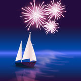 Fireworks from the boat Royalty Free Stock Photo