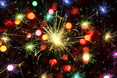 Fireworks and bokeh background Stock Image