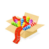 Fireworks in a box. Set of colorful fireworks in a box for independence day celebrations,  on white background, illustration Stock Image