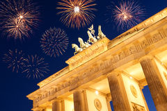 Fireworks at brandenburger tor. On new year's eve stock photos