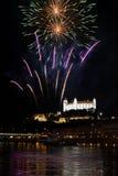 Fireworks in Bratislava, Slovakia Royalty Free Stock Photography