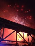 Fireworks Bridge. Knoxville bridge with fireworks above and behind it Royalty Free Stock Photos