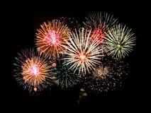 Fireworks. Brightly Colorful Fireworks isolated black background. New Year celebration fireworks Royalty Free Stock Image