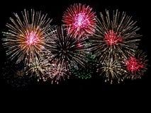 Fireworks. Brightly Colorful Fireworks isolated black background. New Year celebration fireworks Stock Image