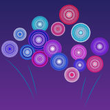 Fireworks. Brightly Colorful Vector Fireworks and Salute- vector  on blue background Royalty Free Stock Image