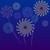Fireworks. Brightly Colorful Vector Fireworks and Salute- vector  on blue background Royalty Free Stock Photos