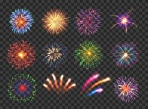 Fireworks with brightly shining sparks. Big set of various fireworks with brightly shining sparks. Colorful pyrotechnics show. Realistic fireworks celebration stock illustration