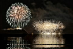 Fireworks in Budapest. The fireworks in Budapest in Hungary Royalty Free Stock Image