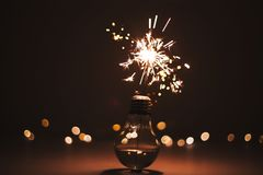 Fireworks in the bulb stock images