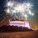 Fireworks bursting above Deva Fortress Stock Photography