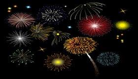 Fireworks bursting.Event, celebrate. Fireworks of various colors bursting against a black background , fireworks show in a carnival or holiday stock illustration
