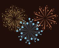 Fireworks bursting in glowing multi colours on brown background. Vector illustration royalty free illustration