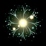 Fireworks bursting in glowing white and light green flashes on black background. Vector illustration Royalty Free Stock Images