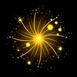 Fireworks bursting in glowing yellow flashes on black background. Vector illustration Stock Image