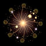 Fireworks bursting in glowing yellow and starry flashes around on black background. Vector illustration Royalty Free Stock Images