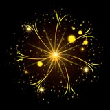 Fireworks bursting in glowing yellow thin star on black background. Vector illustration Stock Photography