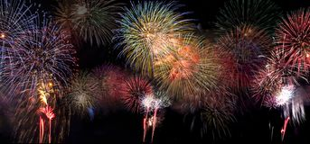 Fireworks Bursting in Night Sky royalty free stock photos