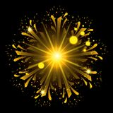 Fireworks bursting in shape of flower with yellow flashes on black background. Vector illustration Royalty Free Stock Photography