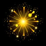 Fireworks bursting in shape of radiant sun with yellow flashes on black background. Vector illustration Royalty Free Stock Photography