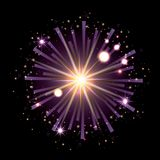Fireworks bursting in shape of star with radiant purple flashes on black background. Vector illustration Royalty Free Stock Photo