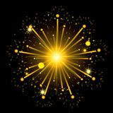 Fireworks bursting in shape of star with yellow flashes on black background. Vector illustration Royalty Free Stock Photos