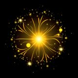 Fireworks bursting in shape of sun with yellow flashes on black background. Vector illustration Royalty Free Stock Photo