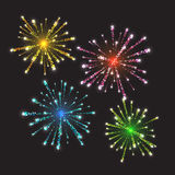 Fireworks bursting in various shapes. Sparkling pictograms set against black background abstract vector illustration Royalty Free Stock Photo