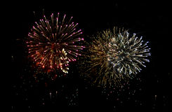 Fireworks Bursts. Two large bursts of fireworks Stock Photos