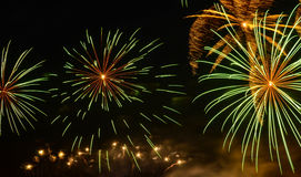 Fireworks bursts in the night sky. Colorful fireworks bursts in the night sky Stock Images