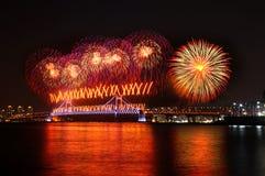 Fireworks at Busan. South Korea Royalty Free Stock Photo