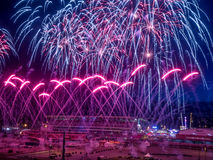 Fireworks at the the Calgary Stampede. CALGARY, CANADA - JULY 8: Fireworks at the the Calgary Stampede at sunset on July 8, 2016 in Calgary, Alberta. The Calgary Royalty Free Stock Images