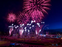 Fireworks at the the Calgary Stampede. CALGARY, CANADA - JULY 8: Fireworks at the the Calgary Stampede at sunset on July 8, 2016 in Calgary, Alberta. The Calgary Stock Image