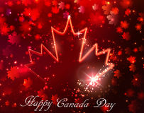 Fireworks and Canada flag Royalty Free Stock Image