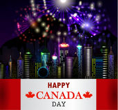 Fireworks and Canada flag Royalty Free Stock Photo
