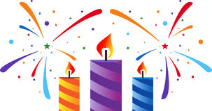 Fireworks and candles. Festive fireworks and colorfull candles. Eps 10 Royalty Free Stock Photos