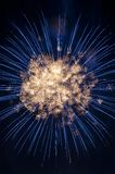 Fireworks captured in a ball of sparks royalty free stock photo