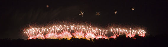 Fireworks on Carcassonne festival of 14 july 2012 Stock Photo