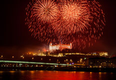Fireworks on the Castle Royalty Free Stock Photo