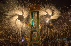 Fireworks castle with pinswheels spinning. Are common at Ecuadorian celebrations Royalty Free Stock Image