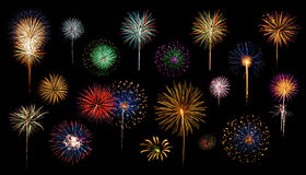 Fireworks Catalog. This is a catalog of different styles of fireworks Royalty Free Stock Photos
