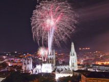 Fireworks in the Cathedral of Burgo Royalty Free Stock Photo