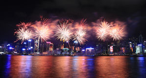 Fireworks celebrating the chinese new year in Hong Kong Royalty Free Stock Images