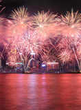 Fireworks celebrating the chinese new year in Hong Kong. Royalty Free Stock Image